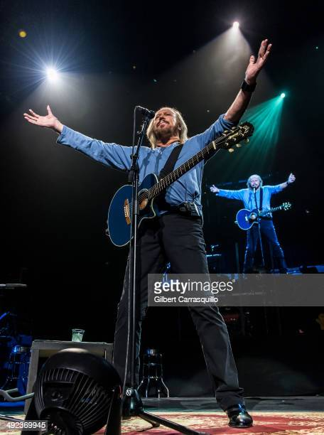 The last surviving member of the Bee Gees Barry Gibb performs during his limited sixshow 'Mythology The Tour Live' at Wells Fargo Center on May 19...