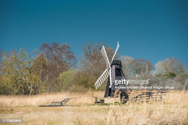 the last surviving wooden wind pump in the fens at wicken fen national nature reserve, cambridgeshire, east anglia, england, uk. - ケンブリッジシャー州 ストックフォトと画像