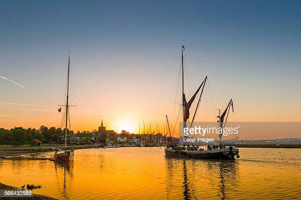 The last Thames sailing barge returns at sunset to Maldon quay