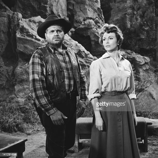 BONANZA The Last Trophy Episode 27 Aired 3/26/1960 Pictured Bert Freed as Simon Belcher Hazel Court as Lady Beatrice Dunsford Photo by NBCU Photo Bank
