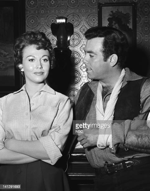 BONANZA 'The Last Trophy' Episode 27 Aired 3/26/1960 Pictured Hazel Court as Lady Beatrice Dunsford Pernell Roberts as Adam Cartwright Photo by NBCU...
