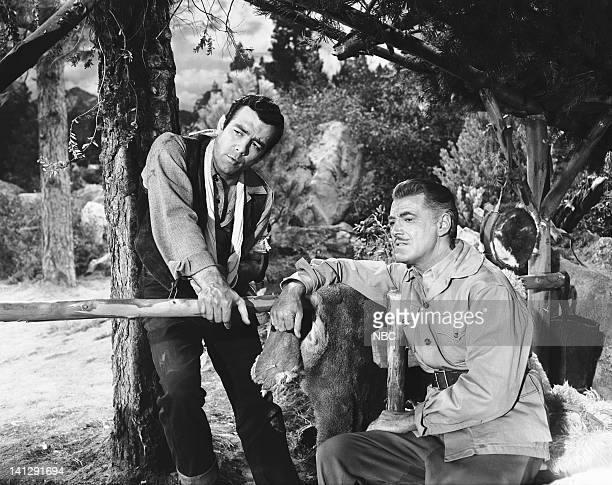BONANZA 'The Last Trophy' Episode 27 Aired 3/26/1960 Pictured Pernell Roberts as Adam Cartwright Edward Ashley as Lord Marion Ashley Photo by NBCU...