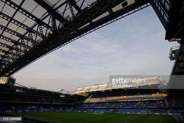 The late afternoon sunshine hits the East Stand roof ahead of the English Premier League football match between Chelsea and Everton at Stamford...