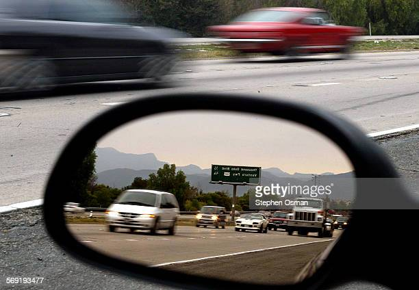 The late afternoon traffic on Highway 23 in Thousand Oaks begins to backup just north of Highway 101 as reflected in the side mirror.Projects to...