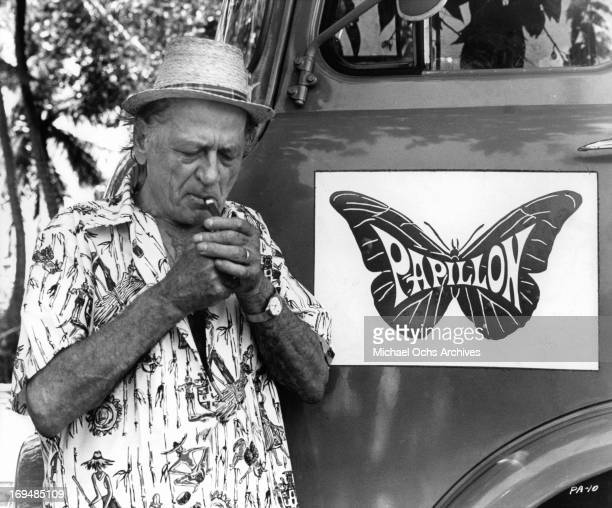 The late author Henri Charriere on set in Jamaica during the shooting of the film 'Papillon' 1973