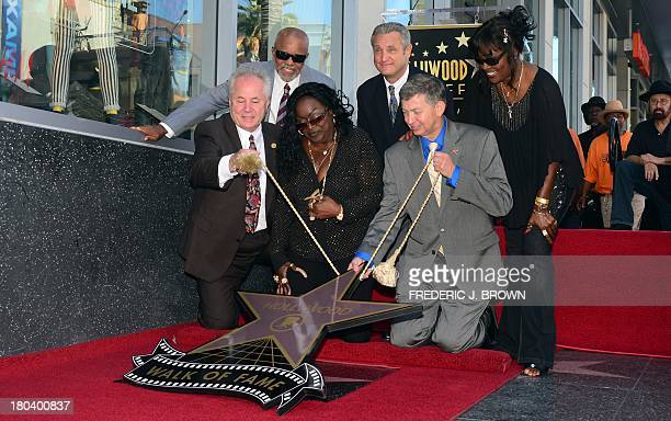 The late Barry White's wife Glodean reacts during the unveiling of her husband's posthumous star along the Hollywood Walk of Fame on September 12...