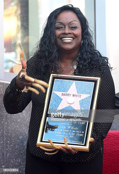 The late Barry White's wife Glodean White poses following the unveiling of her husband's posthumous star along the Hollywood Walk of Fame on...