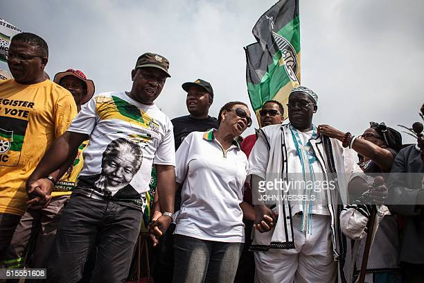 The late Chris Hani's wife Limpho Hani and members of the African National Congress demonstrate outside the Constitutional Court in protest over the...