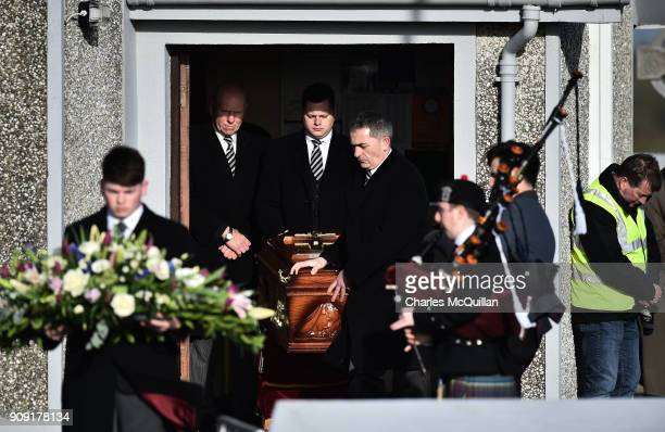 The late Dolores O'Riordan is taken from from St Ailbe's Church Ballybricken following her funeral on January 23 2018 in Limerick Ireland The...