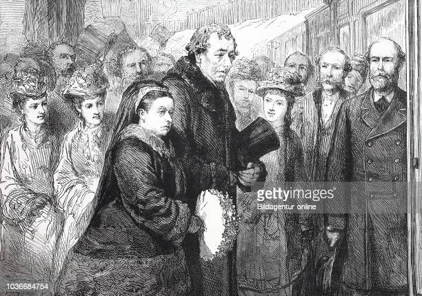 the late earl of Beaconsfield visit to Hughenden December 1877 at the railway station High Wycombe Benjamin Disraeli 1st Earl of Beaconsfield 21...