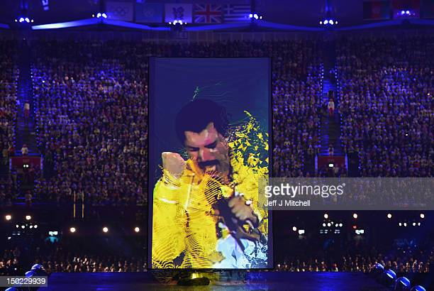 The late Freddie Mercury is displayed on screen during the Closing Ceremony on Day 16 of the London 2012 Olympic Games at Olympic Stadium on August...