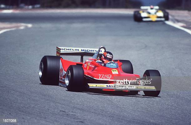 The late Gilles Villeneuve the legendary French Canadian driver seen here in action at the Spar Circuit in Belgium driving his Ferrari racing car...