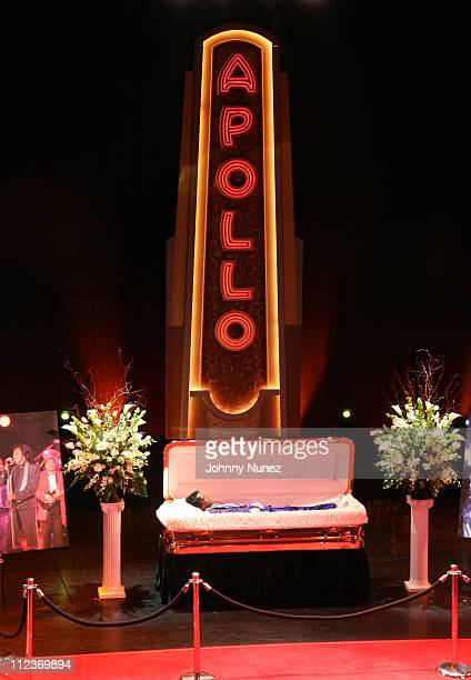 The late James Brown lying in repose at the Apollo Theater in Harlem Brown widely known as the Godfather of Soul first performed on the Apollo stage...
