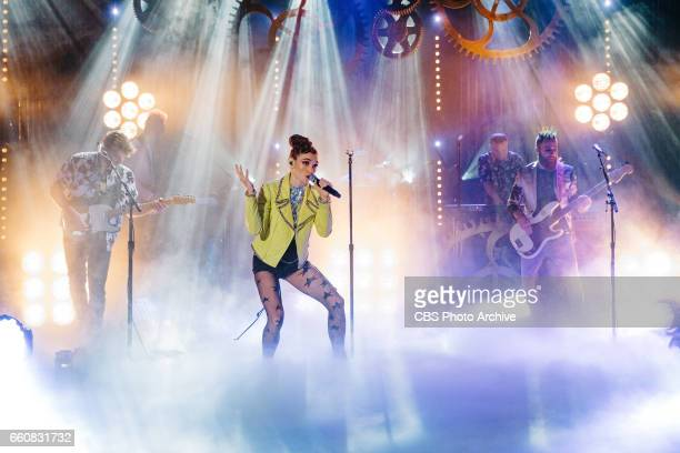 The Late Late Show with James Corden airing Monday March 27 with guests JJ Redick Scott Bakula Pete Holmes and Misterwives Pictured MisterWives