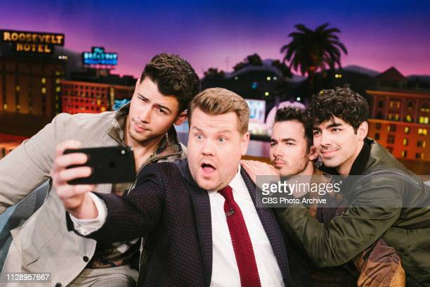 The Late Late Show with James Corden airing Monday March 4 with guests Jonas Brothers Nick Kevin and Joe along with mentalist Lior Suchard