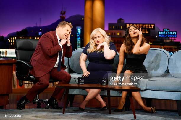 The Late Late Show with James Corden airing Tuesday February 12 with guests Rebel Wilson Priyanka Chopra Jonas and magician Justin Flom