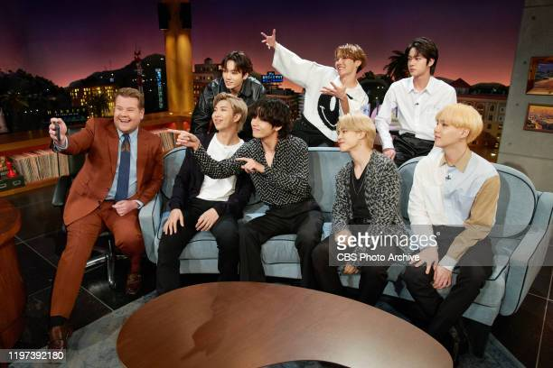 The Late Late Show with James Corden airing Tuesday January 28 with guests Cynthia Erivo Ashton Kutcher and BTS