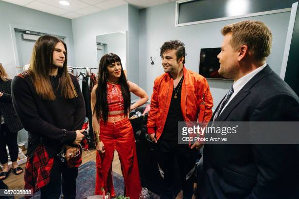 The Late Late Show with James Corden airing Tuesday March 21 with guests Allison Williams Darren Criss and The Band Perry Pictured The Band Perry and...