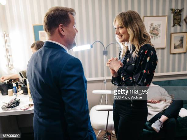 The Late Late Show with James Corden airing Wednesday March 22 with guests Judy Greer Josh Gad and Maggie Rogers Pictured James Corden and Judy Greer