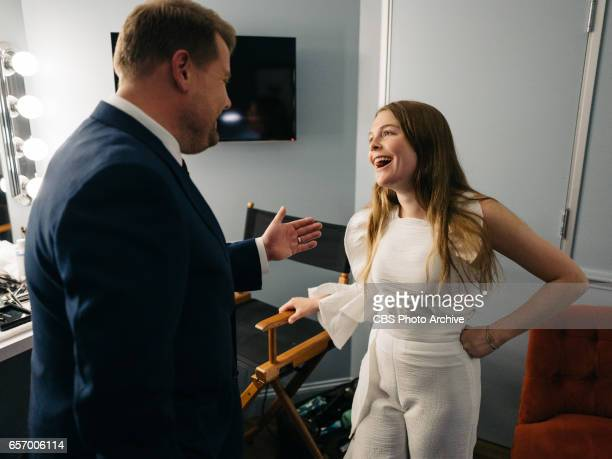 The Late Late Show with James Corden airing Wednesday March 22 with guests Judy Greer Josh Gad and Maggie Rogers Pictured James Corden and Maggie...