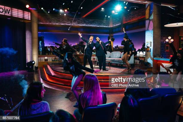 The Late Late Show with James Corden airing Wednesday March 22 with guests Judy Greer Josh Gad and Maggie Rogers Pictured James Corden and Josh Gad