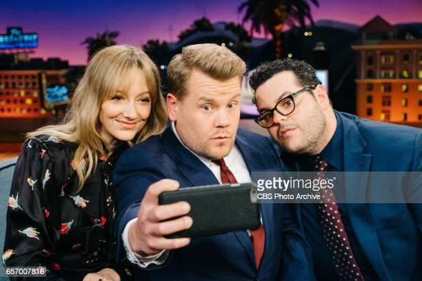 The Late Late Show with James Corden airing Wednesday March 22 with guests Judy Greer Josh Gad and Maggie Rogers Pictured Judy Greer and Josh Gad