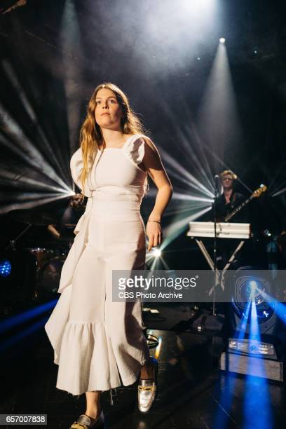 The Late Late Show with James Corden airing Wednesday March 22 with guests Judy Greer Josh Gad and Maggie Rogers Pictured Maggie Rogers