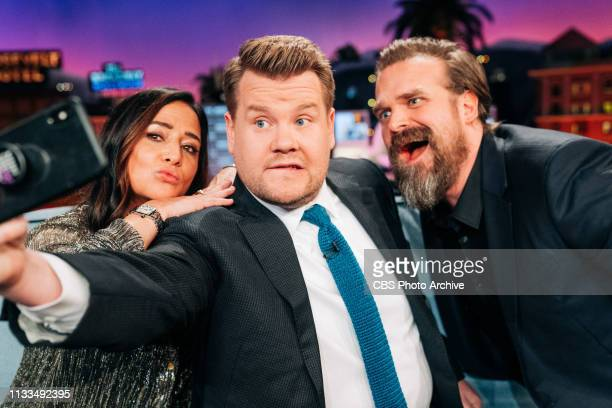 The Late Late Show with James Corden airing Wednesday March 27 with guests Pamela Adlon David Harbour and music from Wallows