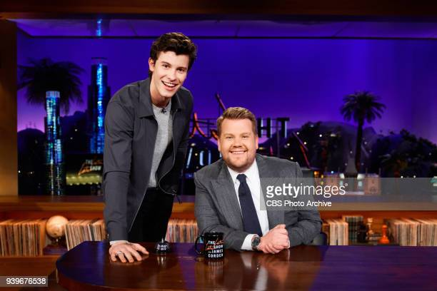 The Late Late Show with James Corden featuring musical guest Shawn Mendes airing Wednesday March 28 2018 on the CBS Television Network