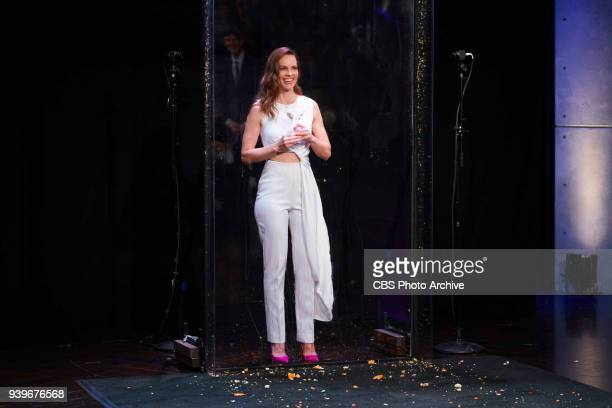 The Late Late Show with James Corden with guest Hillary Swank airing Wednesday March 28 2018 on the CBS Television Network