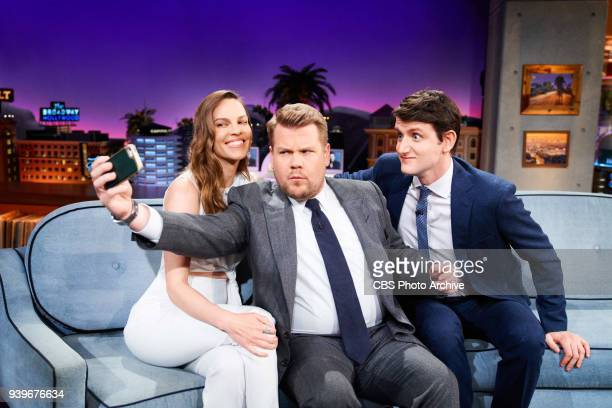 The Late Late Show with James Corden with guests Hillary Swank and Zach Woods airing Wednesday March 28 2018 on the CBS Television Network