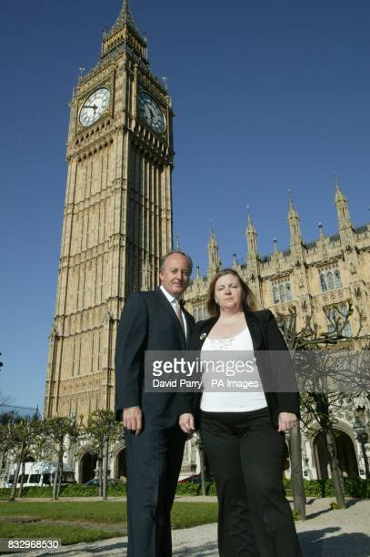 The late Lonnie Donehgan's wife Sharon Donegan meets Shaun Woodward MP at The Houses of Parliament