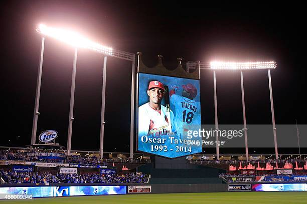 The late Oscar Taveras is honored prior Game Six of the 2014 World Series between the Kansas City Royals and the San Francisco Giants at Kauffman...