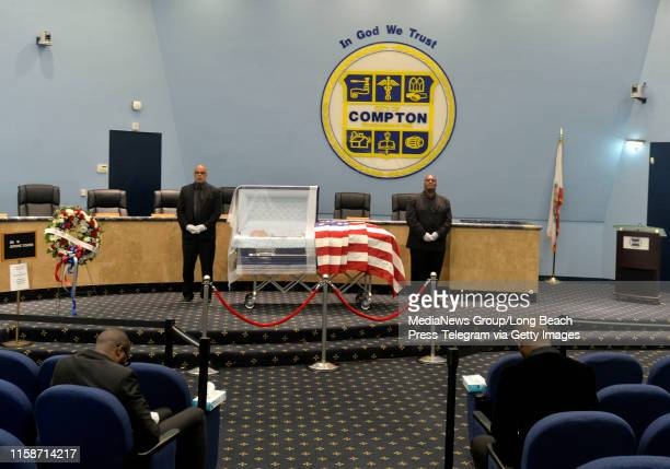 The late Pastor DW Jerome Fisher who founded the first AfricanAmerican church in Compton in 1958 lying in state at Compton City Hall's council...