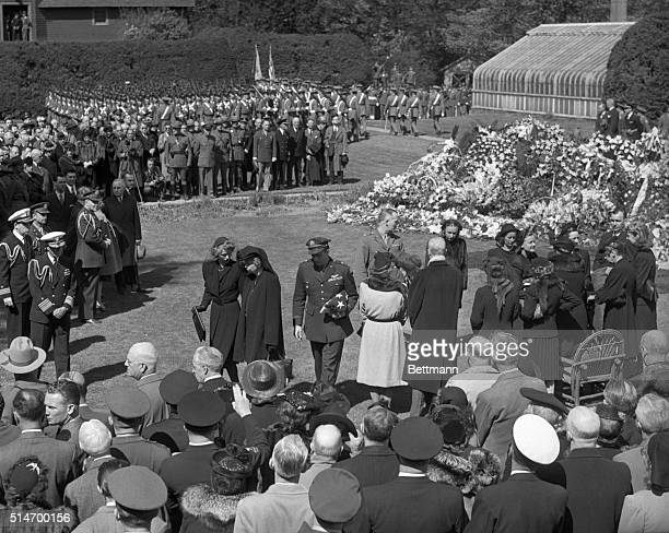 The late President Franklin Delano Roosevelt is laid to rest in the rose garden of his Hyde Park estate Mourners and military officers gather to pay...