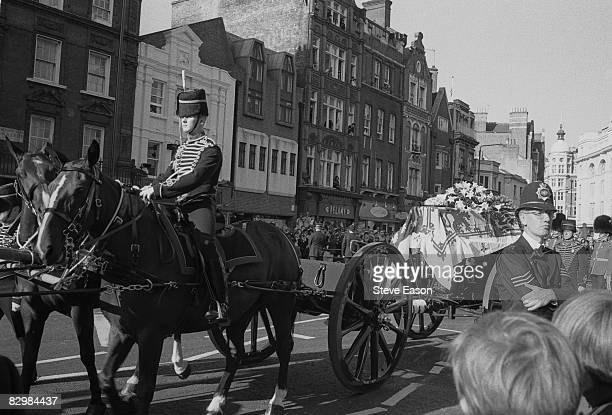 The late Princess of Wales' coffin passes through London on its way to Westminster Abbey 6th September 1997