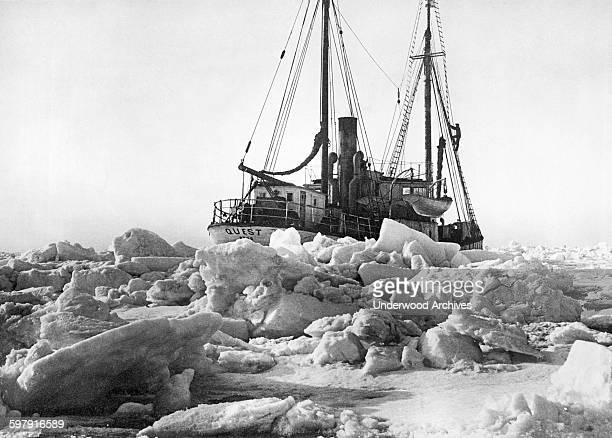 The late Roald Amundsen's flagship 'The Quest' is icebound in the Arctic as it leads the Norwegian Government Expedition into the northern regions to...