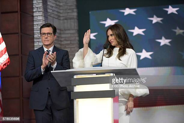 The Late Show with Stephen Colbert airing live Monday July 19 2016 in New York With guests Laura Benanti KeeganMichael Key Kathryn Hahn Jenny Lewis...