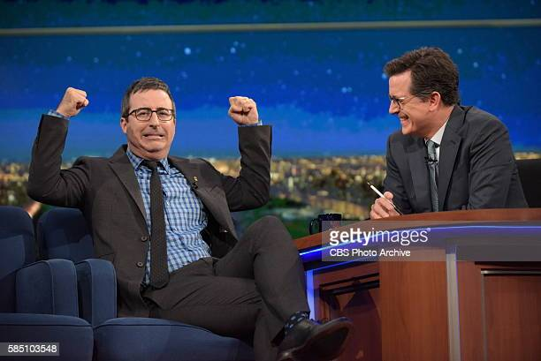 The Late Show with Stephen Colbert airing live Wednesday July 27 2016 in New York With guest John Oliver