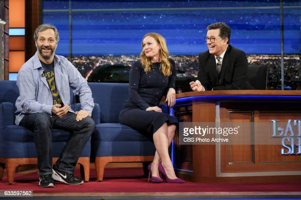 The Late Show with Stephen Colbert airing Monday January 30 2017 with Judd Apatow and Leslie Mann