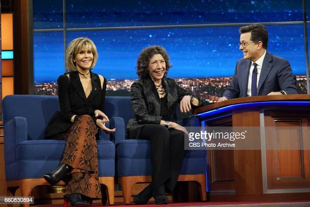 The Late Show with Stephen Colbert airing Tuesday March 27 2017 with Lily Tomlin Jane Fonda Jay Chandrasekhar musical performance by Aimee Mann