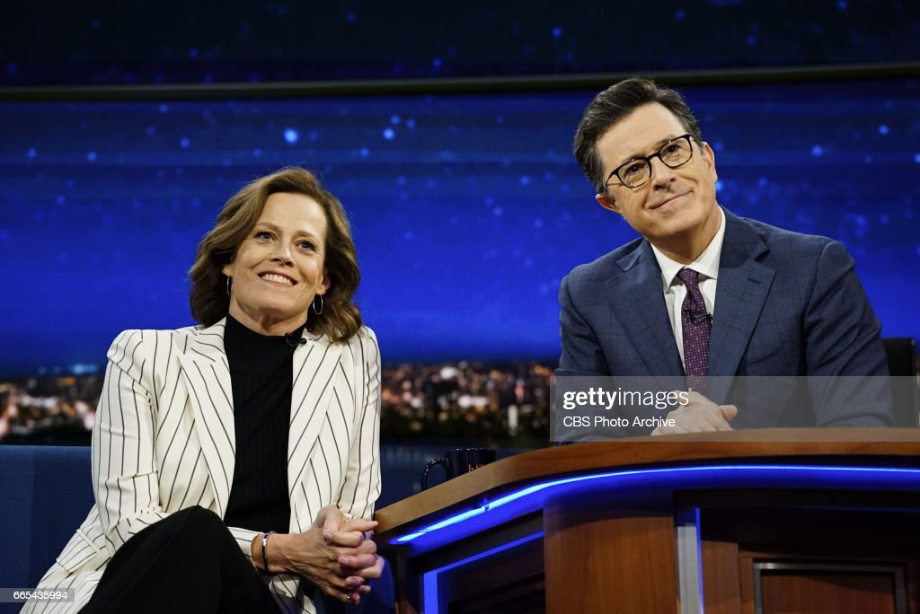 The Late Show with Stephen Colbert airing Wednesday, April 5, 2017. Pictured L-R: Sigourney Weaver and Stephen Colbert.