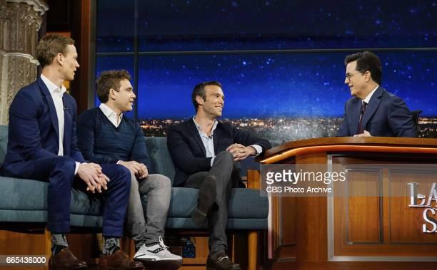 The Late Show with Stephen Colbert airing Wednesday April 5 2017 Pictured LR Tommy Vietor Jon Lovett Jon Favreau and Stephen Colbert