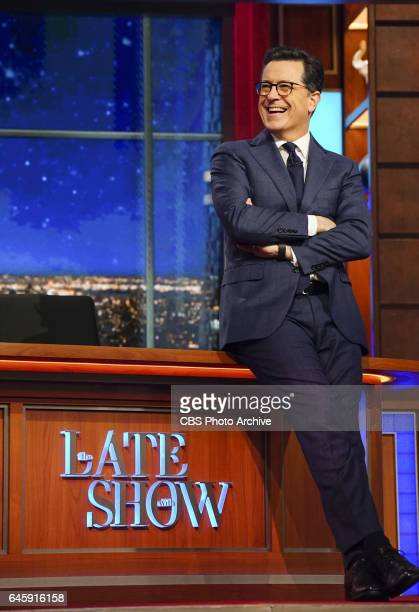 The Late Show with Stephen Colbert airing Wednesday Feb 22 2017 with Kelly Ripa Billy Gardell and The Lemon Twigs Pictured Stephen Colbert