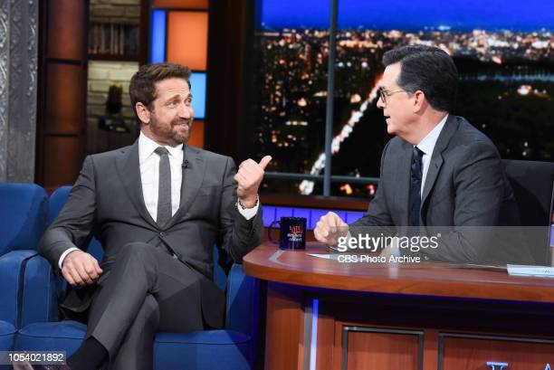 The Late Show with Stephen Colbert and Gerard Butler during Wednesday's October 24 2018 show