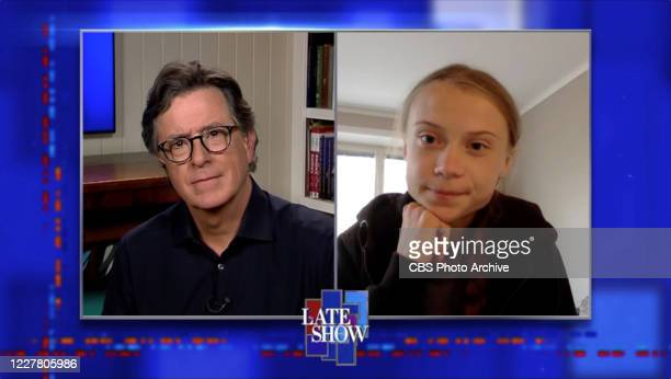 The Late Show with Stephen Colbert and Greta Thunberg during Tuesday's July 21 2020 show Image is a screen grab
