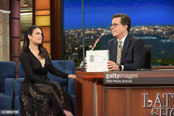 The Late Show with Stephen Colbert and guest Abbi Jacobson during Wednesday's 10/26/16 show in New York