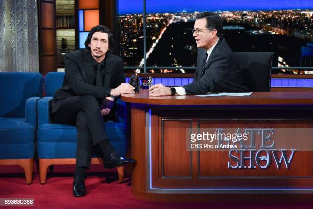 The Late Show with Stephen Colbert and guest Adam Driver during Thursday's December 14 2017 show