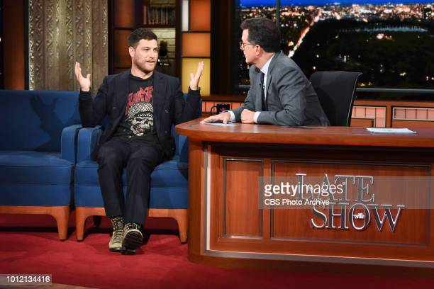 The Late Show with Stephen Colbert and guest Adam Pally during Wednesday's August 1 2018 show