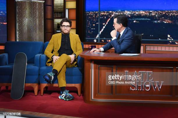 The Late Show with Stephen Colbert and guest Adam Pally during Tuesday's December 11 2018 show